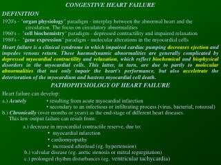 CONGESTIVE HEART FAILURE DEFINITION