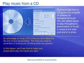 Play music from a CD