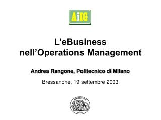 L'eBusiness  nell'Operations Management