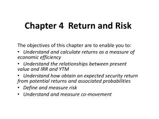 Chapter 4  Return and Risk