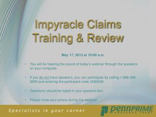 Impyracle Claims Training & Review