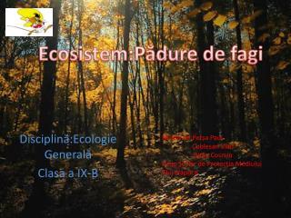 Disciplin ă : Ecologie Generală Clasa a IX-B
