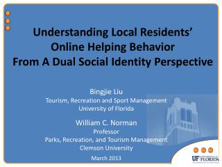 Understanding Local Residents'  Online Helping Behavior  From A Dual Social Identity Perspective