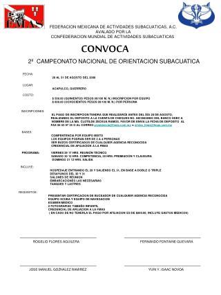 FEDERACION MEXICANA DE ACTIVIDADES SUBACUATICAS, A.C. AVALADO POR LA