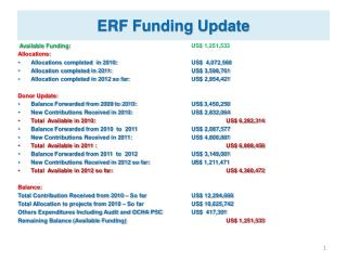 ERF Funding Update