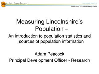 Measuring Lincolnshire's Population  –