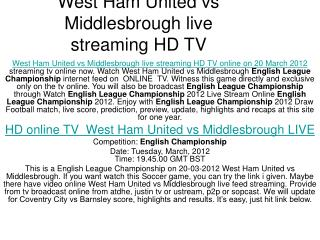 FREE West Ham United vs Middlesbrough video live feed is