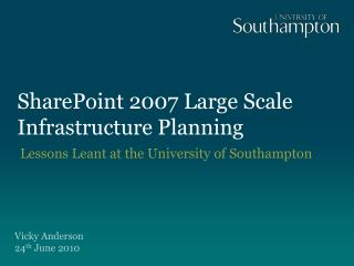 SharePoint 2007 Large Scale Infrastructure Planning