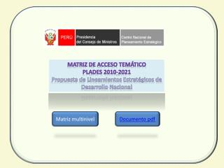Matriz de Acceso Tem�tico PLADES 2010-2021