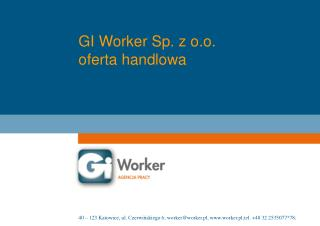 GI Worker Sp. z o.o. oferta handlowa