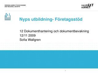 12 Dokumenthantering och dokumentbevakning 12/11 2009 Sofia Wallgren