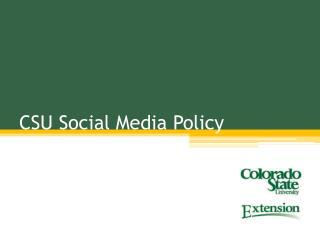 CSU Social Media Policy