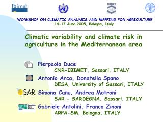 Climatic variability and climate risk in agriculture in the Mediterranean area