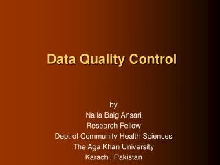 Data Quality Control