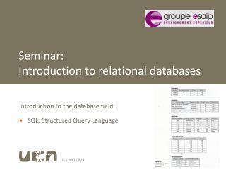 Seminar: Introduction  to relational databases