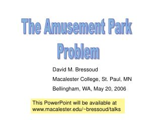 The Amusement Park  Problem