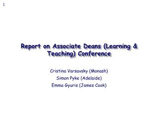Report on Associate Deans (Learning & Teaching) Conference