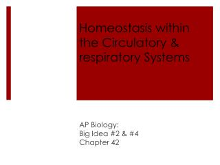 Homeostasis within the Circulatory & respiratory Systems