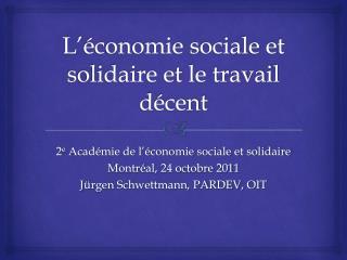 L'économie sociale et solidaire et le travail décent