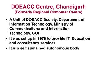 DOEACC Centre, Chandigarh (Formerly Regional Computer Centre)