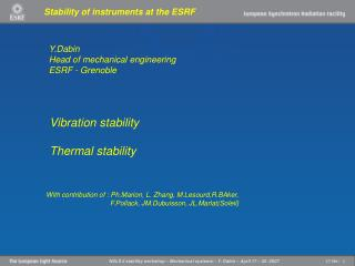 Stability of instruments at the ESRF
