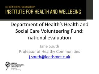 Department of Health's Health and Social Care Volunteering Fund: national evaluation