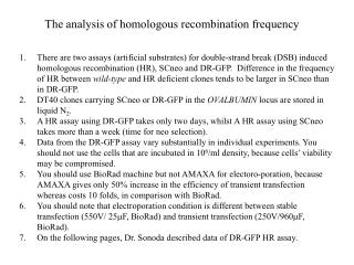The analysis of homologous recombination frequency