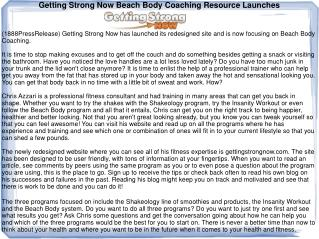 Getting Strong Now Beach Body Coaching Resource Launches