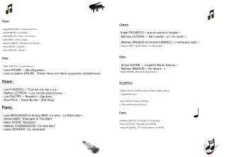 Piano:  Hugo BELMONTE: «Danse Ancienne»  Léa PUXEDDU: «La Cloche»
