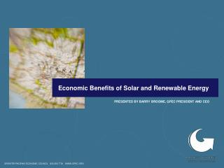 Economic Benefits of Solar and Renewable Energy