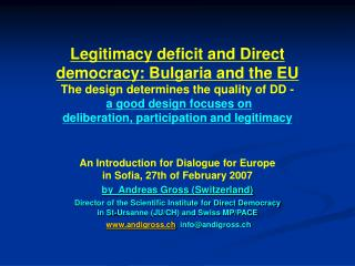 An Introduction for Dialogue for Europe  in Sofia, 27th of February 2007