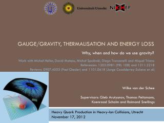 Gauge/gravity,  thermalisation  and energy loss