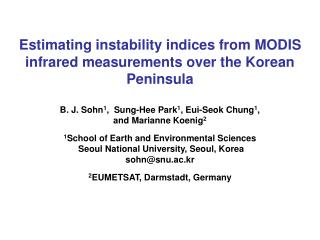 Estimating instability indices from MODIS infrared measurements over the Korean Peninsula
