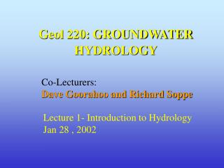 Geol 220: GROUNDWATER HYDROLOGY