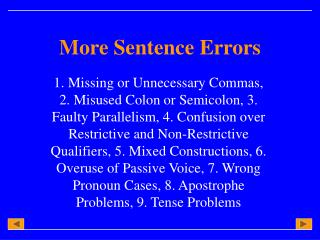 More Sentence Errors