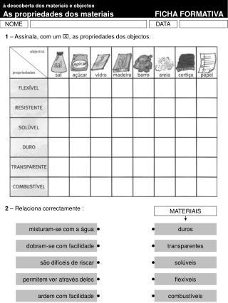 à descoberta dos materiais e objectos As propriedades dos materiaisFICHA FORMATIVA