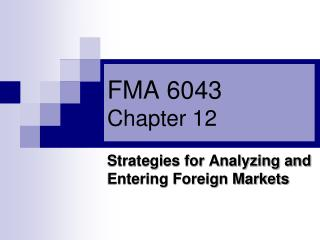 FMA 6043 Chapter 12