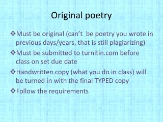 Original poetry