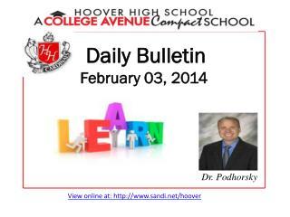 Daily Bulletin February  03, 2014