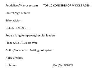 Feudalism/Manor system	 TOP 10 CONCEPTS OF MIDDLE AGES Church/age of faith Scholaticism