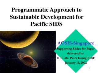 Programmatic Approach to Sustainable Development for Pacific SIDS