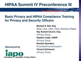 HIPAA Summit IV Preconference III