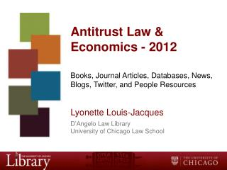 Antitrust Law &  Economics - 2012