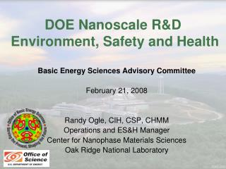 DOE Nanoscale R&D  Environment, Safety and Health