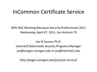 InCommon Certificate Service