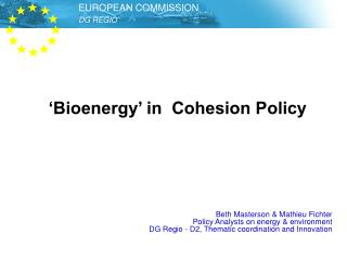 'Bioenergy' in  Cohesion Policy