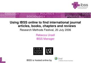Using IBSS online to find international journal articles, books, chapters and reviews