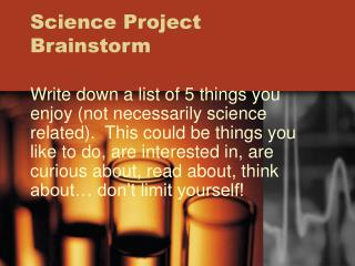 Science Project Brainstorm