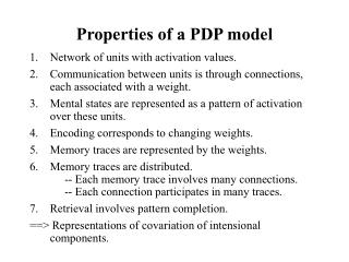 Properties of a PDP model