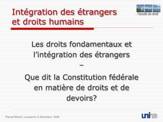 Intégration des étrangers et droits humains